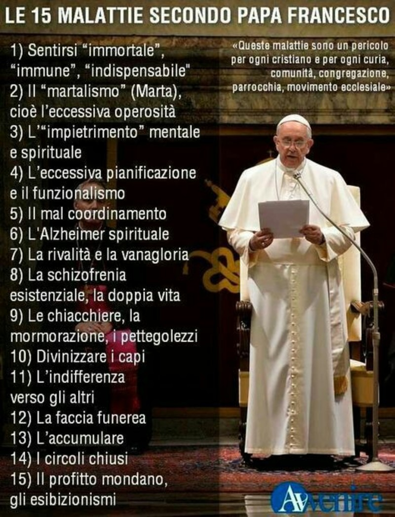 Le 15 malattie secondo Papa Francesco