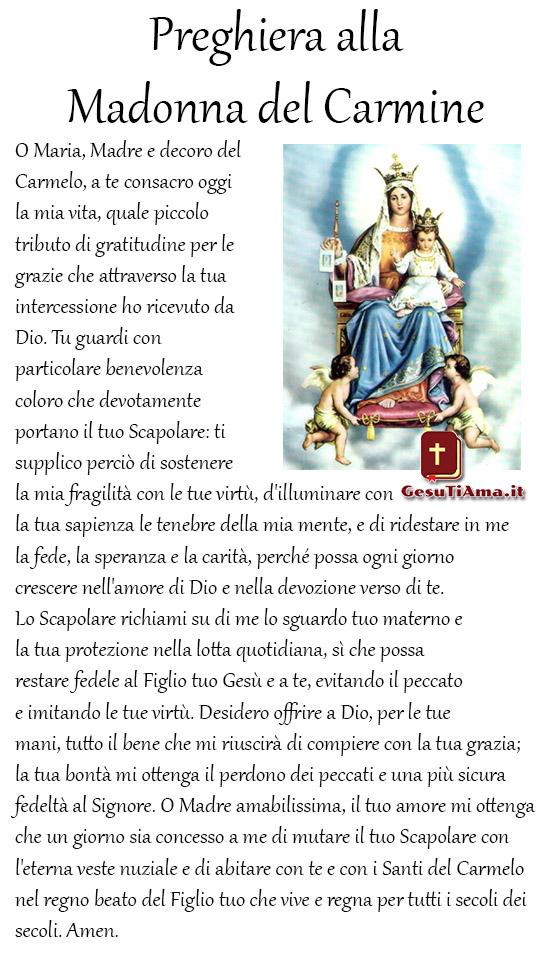 Preghiera alla Madonna del Carmine