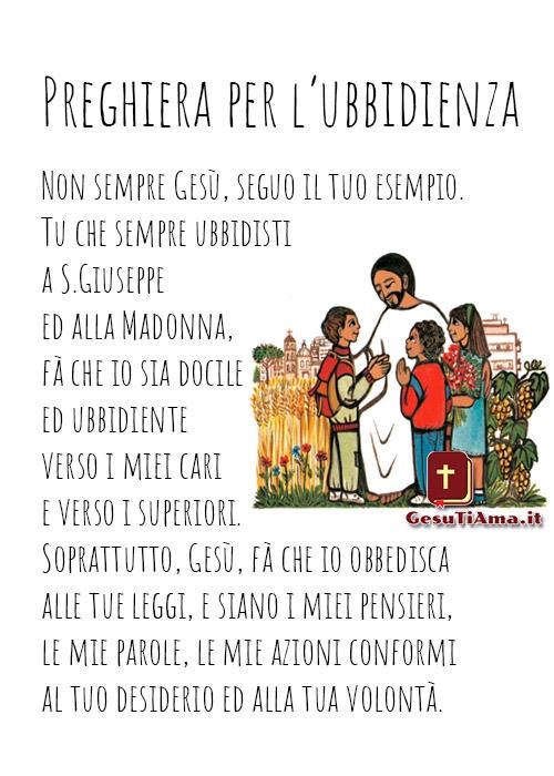 Preghiera per l'ubbidienza immagini religiose per i bambini catechismo