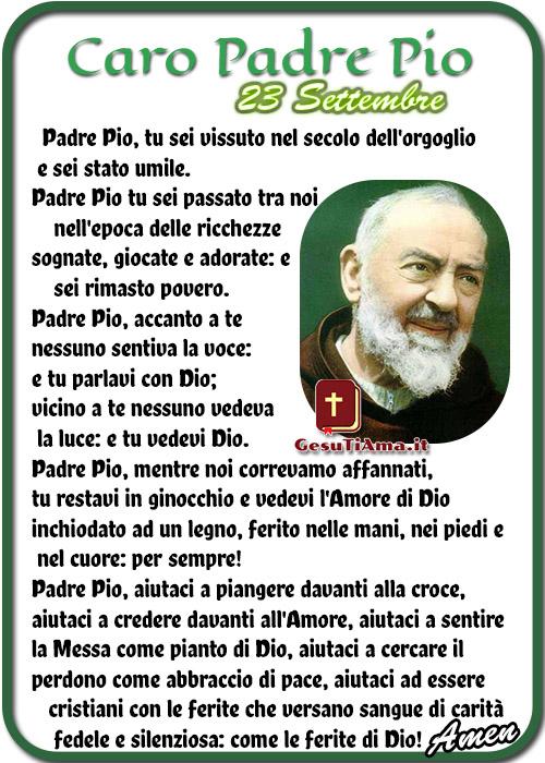 23 Settembre Preghiera a San Pio Padre Pio
