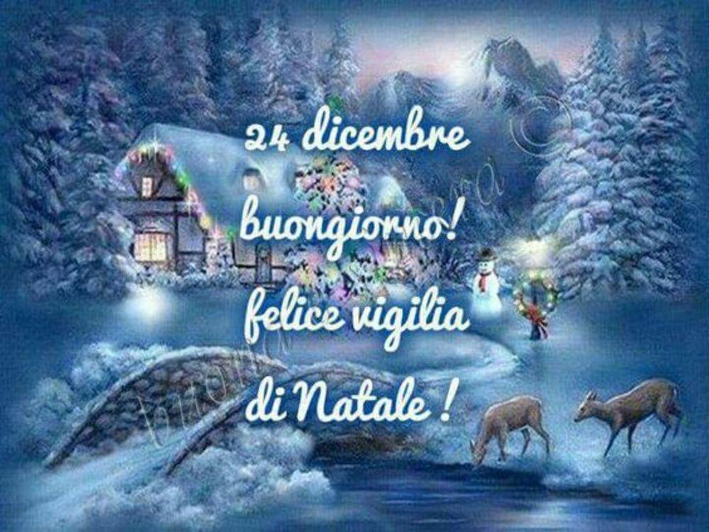 Buona Vigilia Di Natale Con Paesaggio Innevato Gesutiamait
