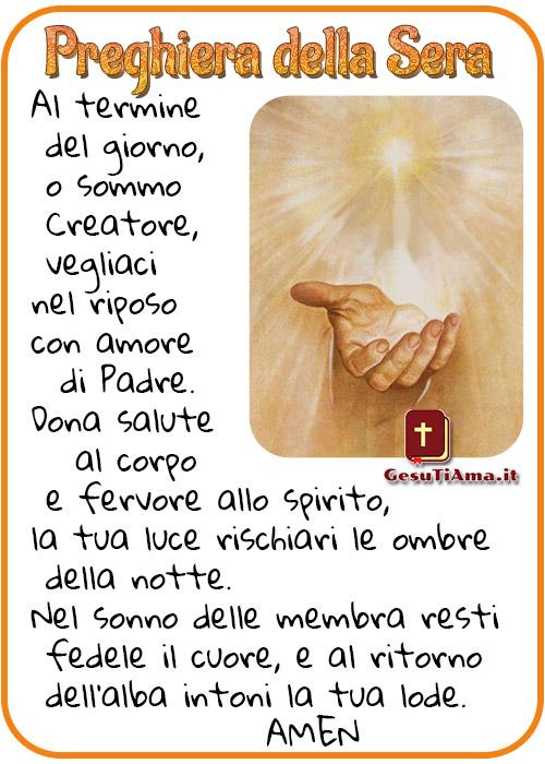 Preghiera della Sera Al termine del giorno