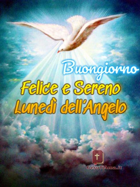 Buongiorno Buon Lunedì dell'Angelo religioso