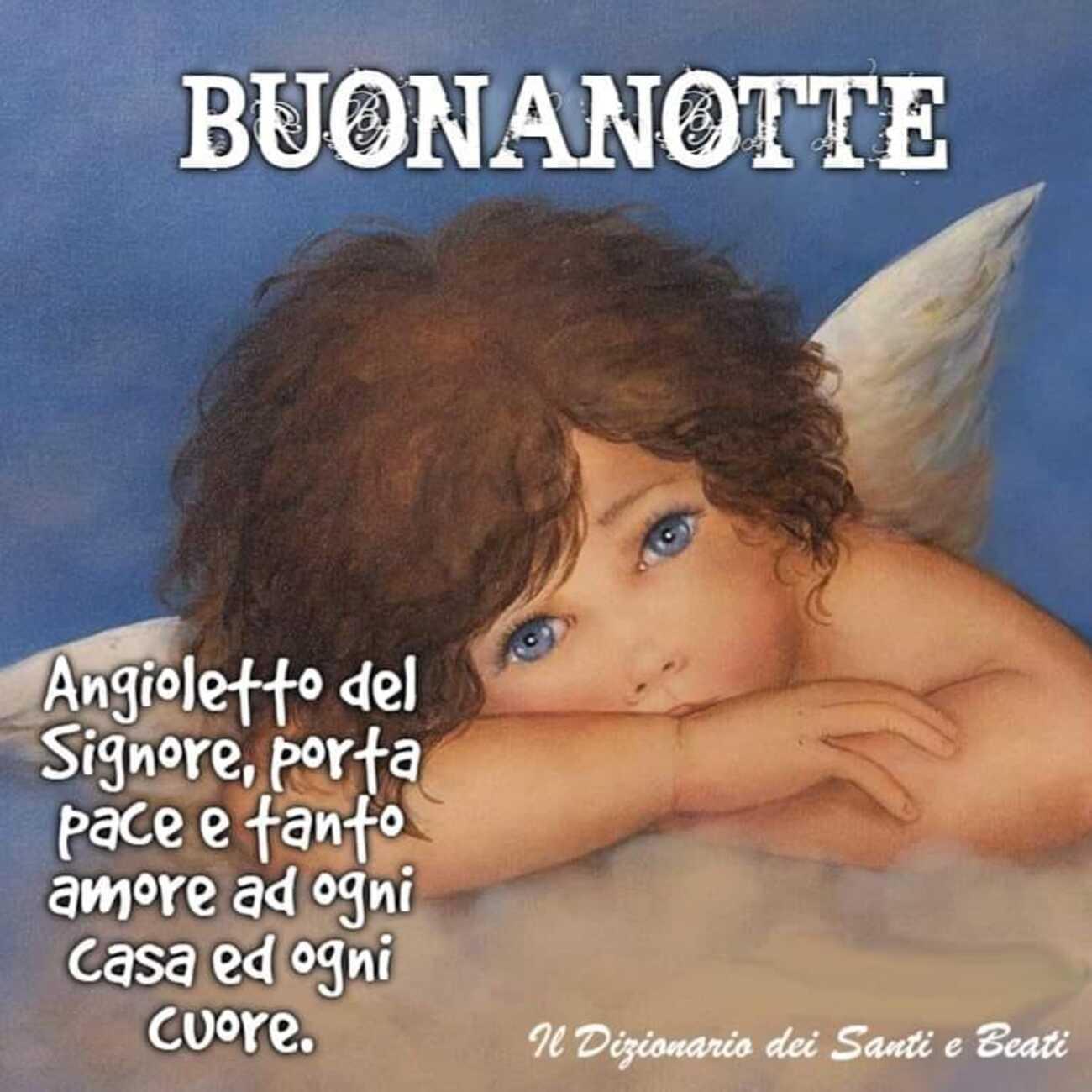 Buonanotte Angioletto del Signore porta pace e tanto amore ad ogni casa ed ogni cuore